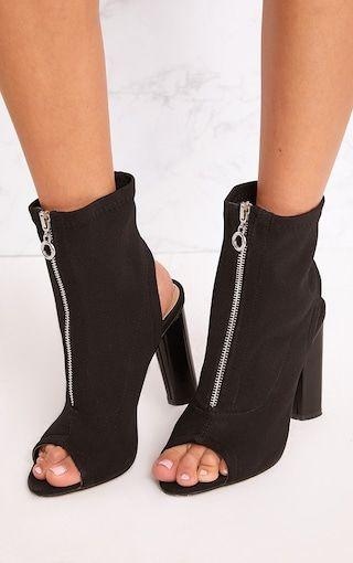 Gebriel Black Ring Zip Sock Boots