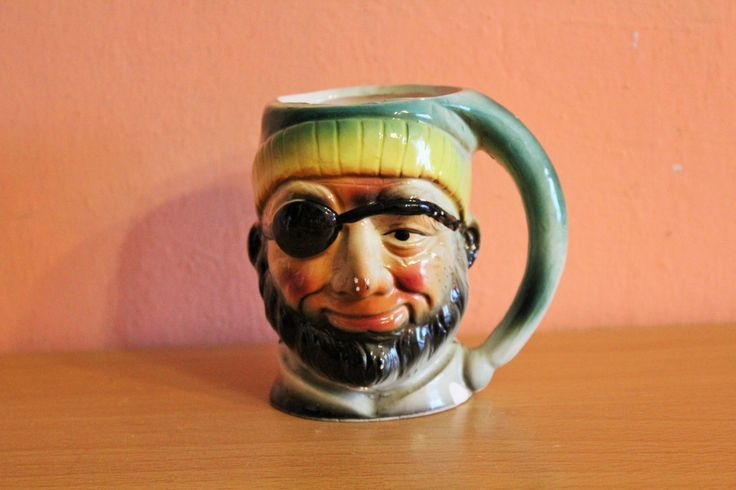 Vintage Ceramic Pirate Mug Foreign Character Jug Pitcher Face Cup by Grandchildattic on Etsy