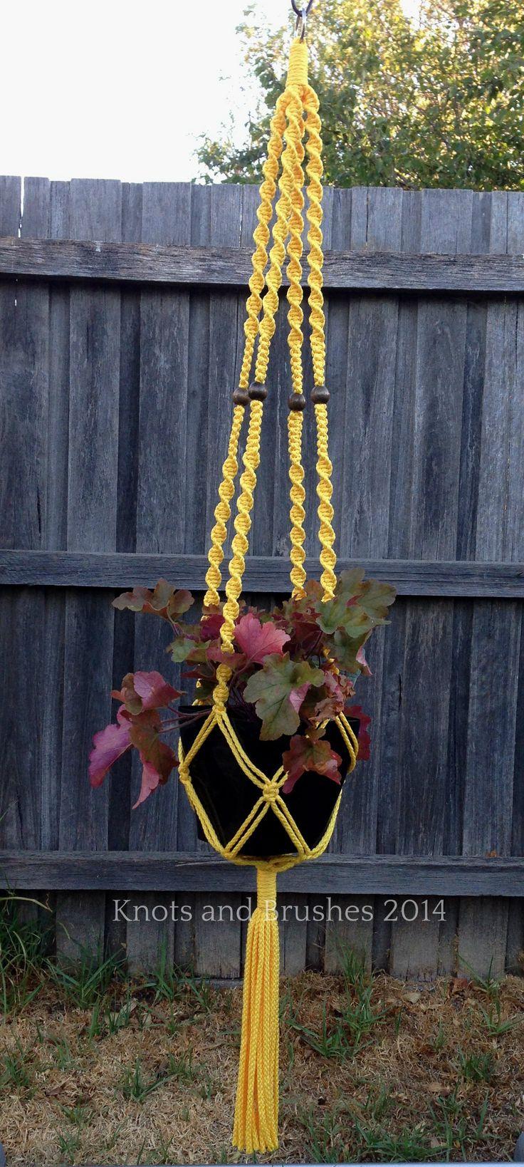 Macramé Hanging Basket - Sunshine Yellow www.knotsandbrushes.com.au