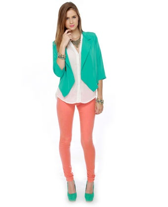 #lovelulusColors Combos, Colors Pants, Coral Pants, Coral Jeggings, Fly Monkeys, Lovelulus Fly, Fave Colors, Green Outfit, Bright Colors