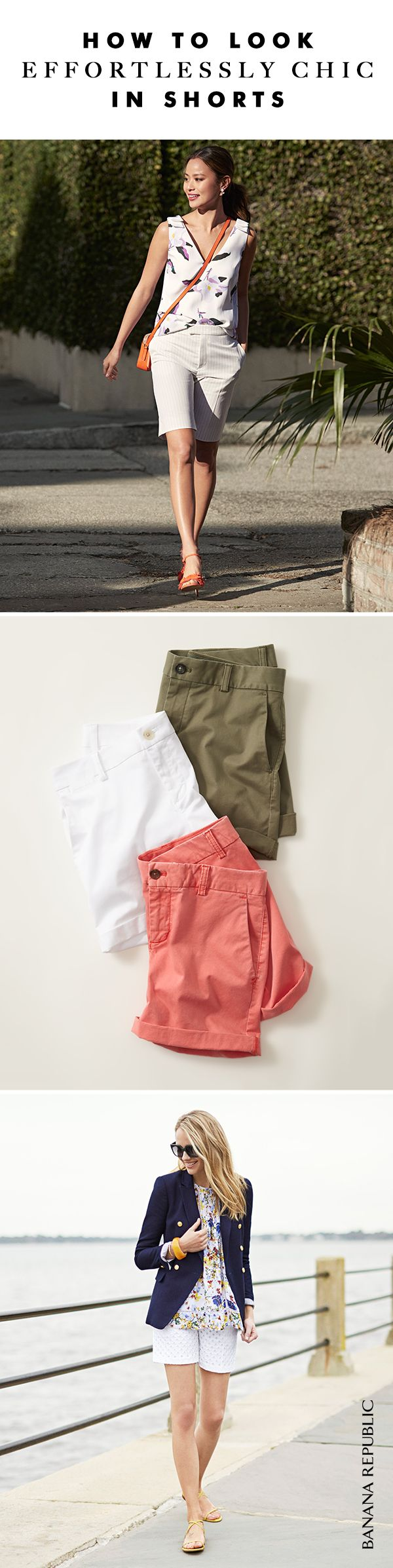 Fresh colors, fabrics and tailored new fits all add up to shorts so polished, they're welcome everywhere for summer. With a feminine top, tee or even a classic blazer for work, think of shorts as your new favorite summer pants. Shop Banana Republic shorts.