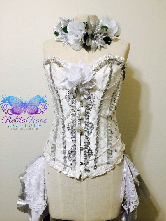 Beauty in wonderland rave corset, withe corset, rave attire, rave outfit, edc on Etsy, $155.00