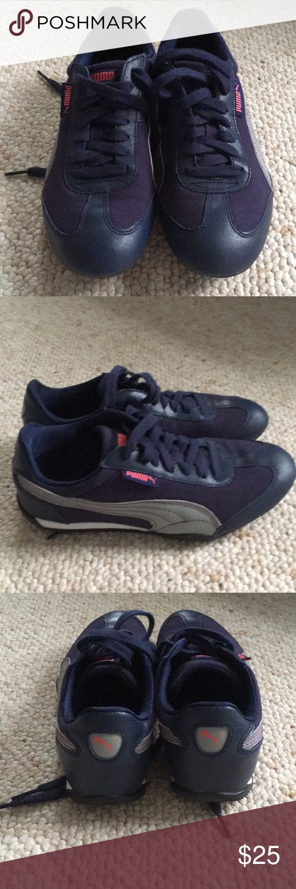 Puma lifestyle sneakers size 7 Puma lifestyle sneakers US size 7 EUR 37.5. Textile+leather outer. Navy Blue with gray and some pink stitching. In great condition. Only worn 3-4 times. Puma Shoes Sneakers