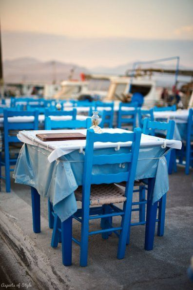 Tables by the sea in Elafonisos port, Greece