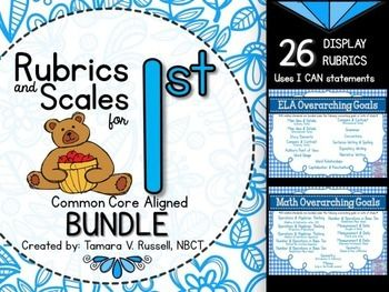 This download features BOTH the ELA set of rubrics and the MATH set of rubrics for FIRST GRADE.  I've bundled the standards under specific headings so that they can be used for a longer instructional period and allow time for all students to make learning gains.Two Main Idea rubrics and two Compare and Contrast rubrics--one for literary texts and one for informational texts.Story Elements, Grammar, Sentence Writing & Spelling, Capitalization & Punctuation, Word Usage, Word Relationships,