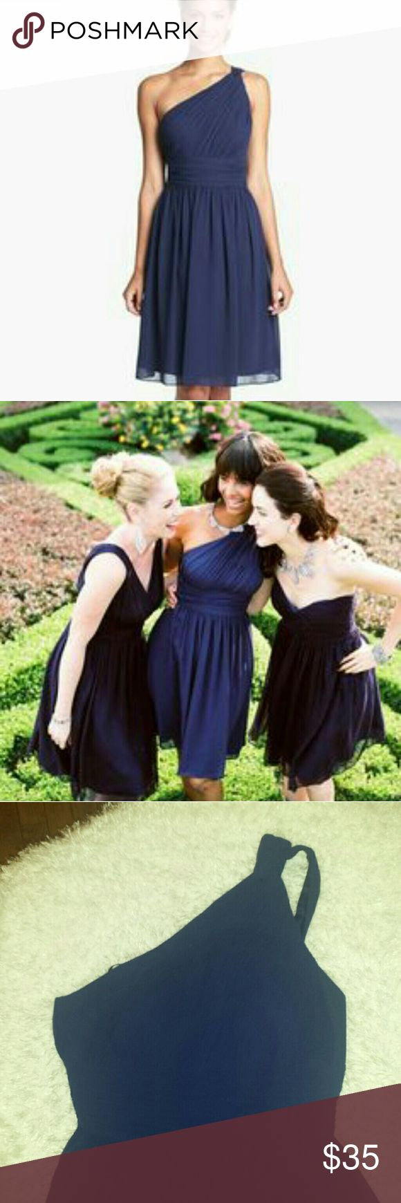 DONNA MORGAN NAVY BLUE CROSS BODY DRESS Donna morgan one shoulder dress..any questions please ask. ....price is firm....12 Donna Morgan Dresses One Shoulder