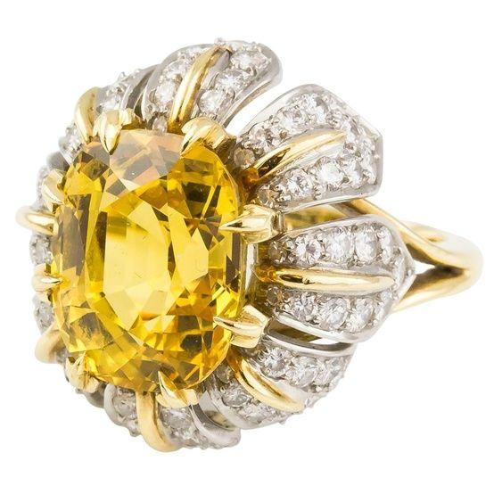 TIFFANY & CO. SCHLUMBERGER Sapphire Diamond Platinum Gold Ring