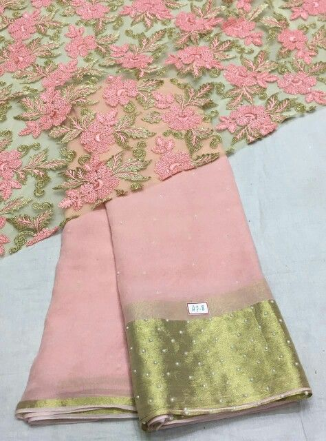 Baby pink georgette saree with pearl work