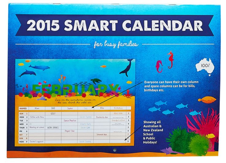 The 2015 Living Landscapes Style Family Organiser Calendar (stapled) is perfect for busy families. $15.99 - Includes free shipping within Australia. #2015 #calendar