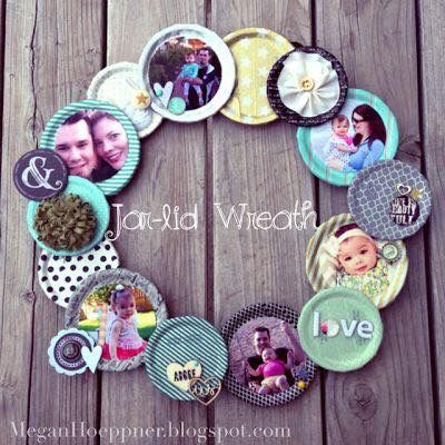 Cute family wreath made out of canning lids