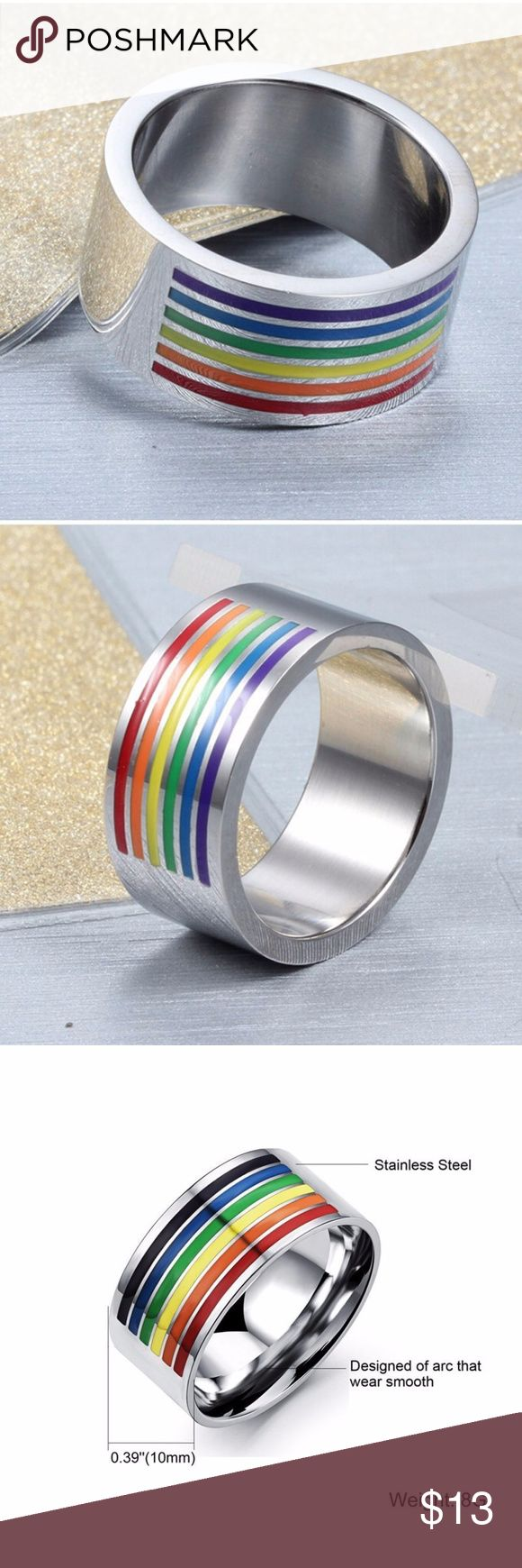 """Rainbow Striped Ring Gay WOMEN MEN STAINLESS STEEL MetaL: Stainless Steel  Ring Size: 7,8,9,10,11,12  Color: Silver&Rainbow Color  Main Stone: No Stone  Ring Width:10mm  Ring Width:0.39""""(1cm)  High Quality; Won't fade  Well made and sturdy 1PC+GIFT BAG Jewelry Rings"""