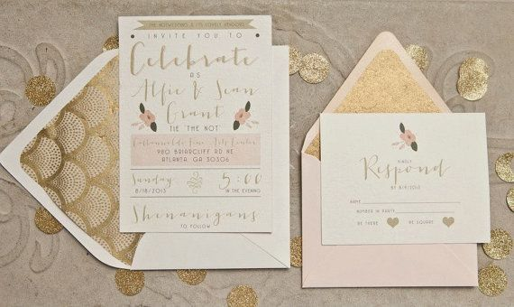 Gatsby Wedding Invitations  Gold and Pink  by YellowDoorCreative, $3.20  Featured on Ruffled Blog and The NotWedding Atlanta 2013!