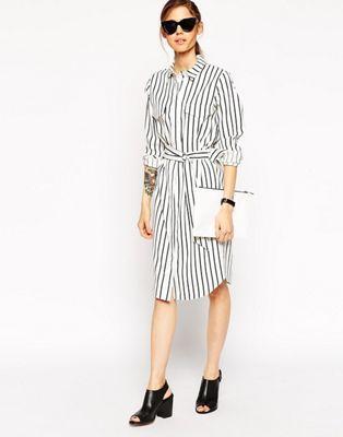 ASOS Shirt Dress in Pinstripe