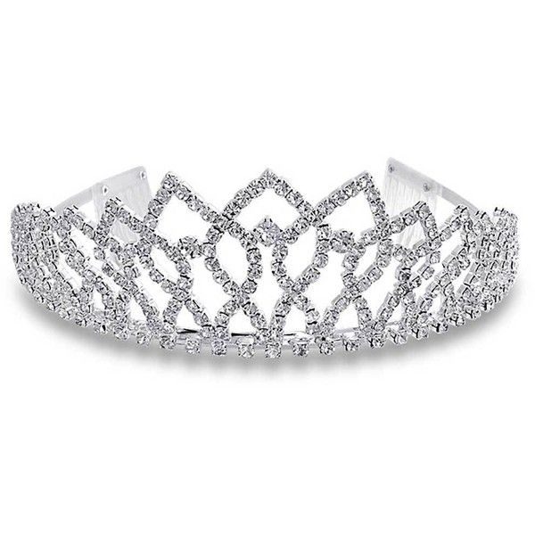 Bling Jewelry Shiny Princess Tiara ($30) ❤ liked on Polyvore featuring jewelry, tiaras, hair, accessories, crowns, decorative-hair-combs, rhinestone jewelry, rhinestone crown, crown jewelry and polish jewelry