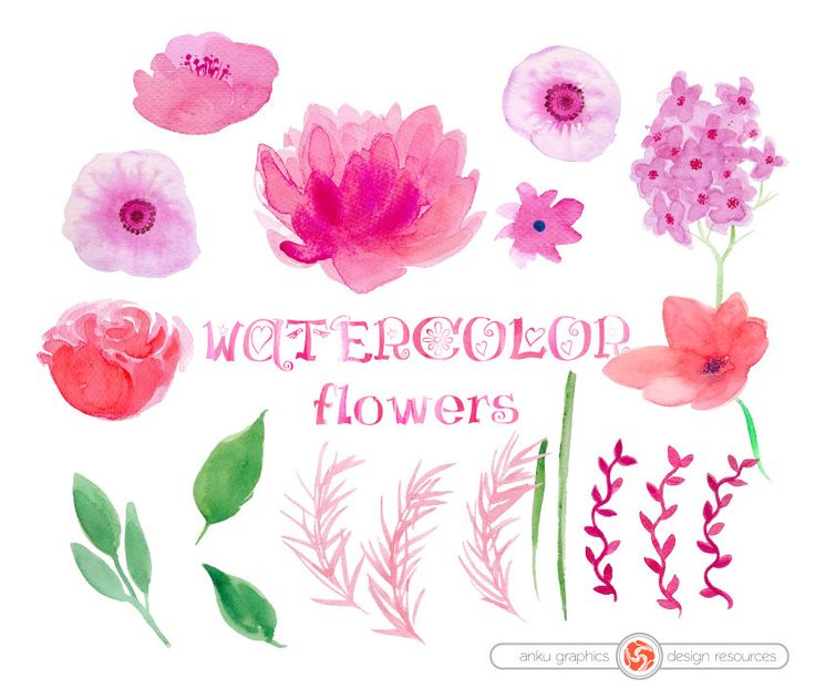 WATERCOLOR  FLOWERS for instant download, watercolor cliparts, bouquets, set of hand painted flowers, twigs, leaves, wedding floral clipart by ankugraphics on Etsy