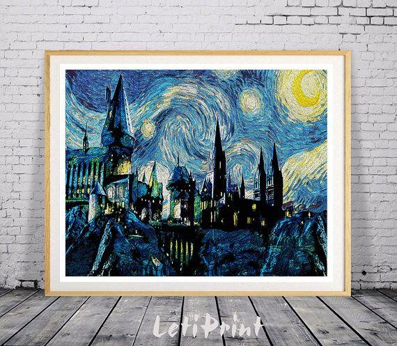 Impresión de noche estrellada de Hogwarts, Harry Potter impresión, impresión del…