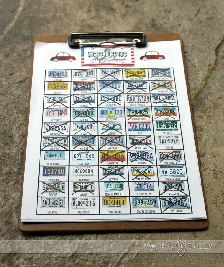 Road Trip License Plate Game - What a great idea!!!!  I may have to create a sheet like this for our next LONG road trip.t