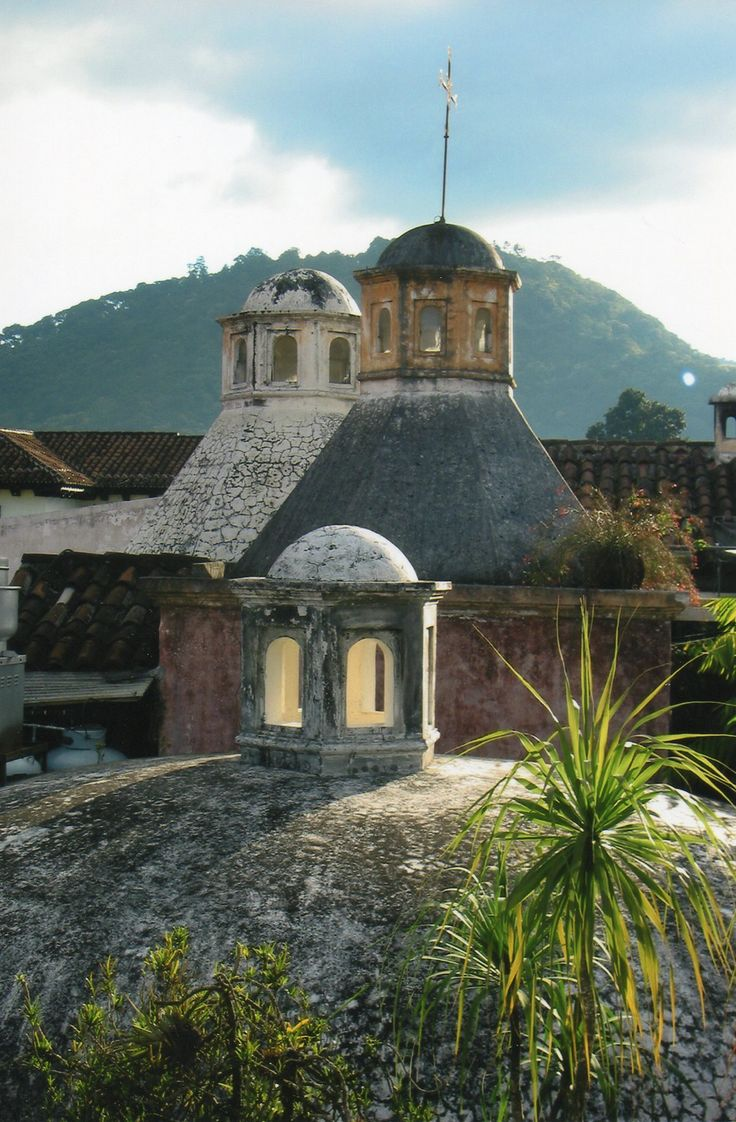 Roof top view from the Meson Panza Verde in Antigua, Guatemala