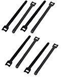 DealMux Nylon Hook Loop Fastening Adjustable Multipurpose Cable Ties 175 x 12mm 8 PCS Black