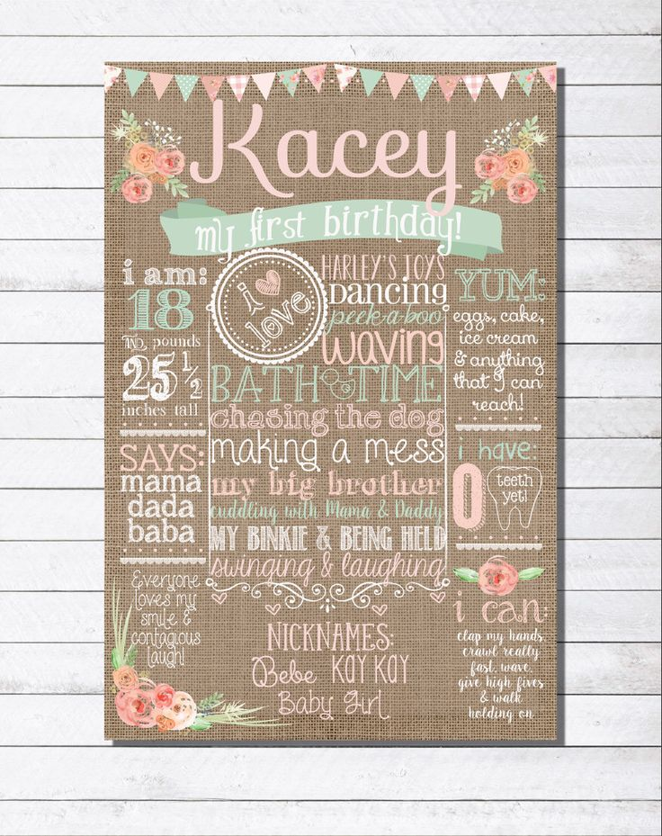 SHABBY CHIC Customized Burlap First Second Third Fourth Birthday Poster Peach Pink Mint by BestDayEverGraphics on Etsy https://www.etsy.com/listing/246629499/shabby-chic-customized-burlap-first