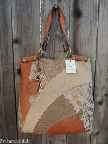 Fossil Lyla Leather Patchwork Tote