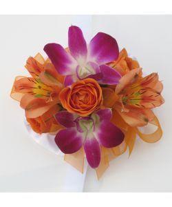 Hallu0027s Flower Shop And Garden Center   Wrist Corsage Orange And Orchids,  $32.99