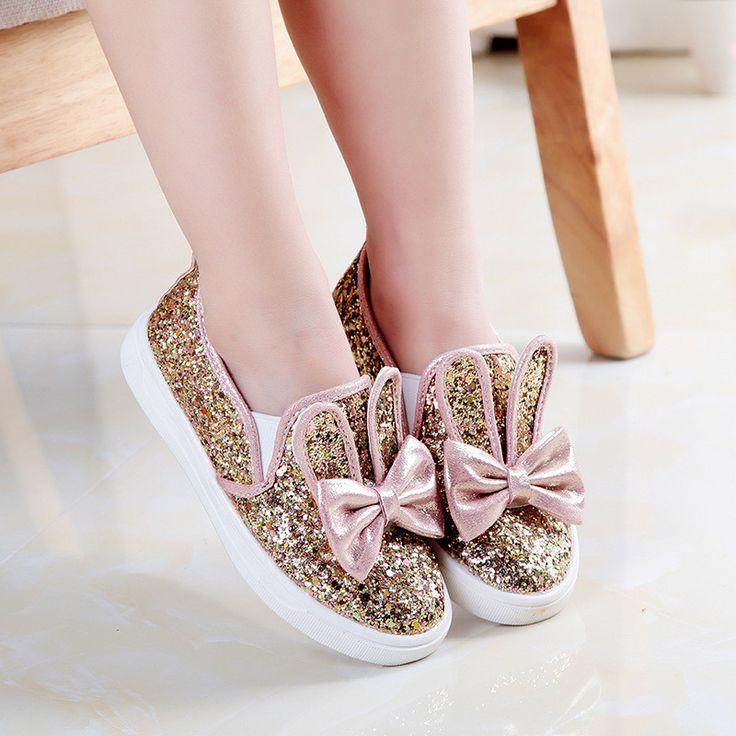 Cute Sequin Bow Bunny Sneaks. Girls SneakersGirls SandalsKid ...