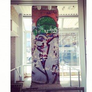 A small portion of the Berlin Wall in the Western Ave. CTA train station in Chicago.