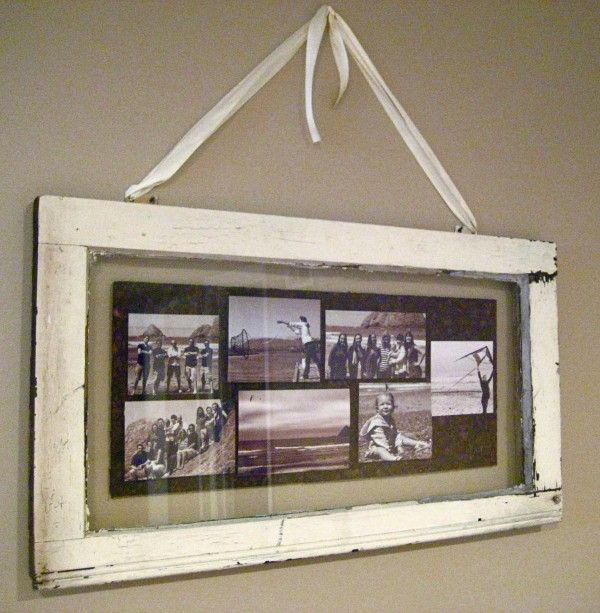 Mouse and Hinge - old window photo collage - via Remodelaholic