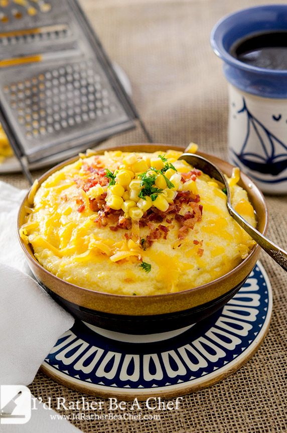 Cheese loaded creamy grits recipe made with love and patience. These creamy grits love bacon crumbles and some whole kernel corn!