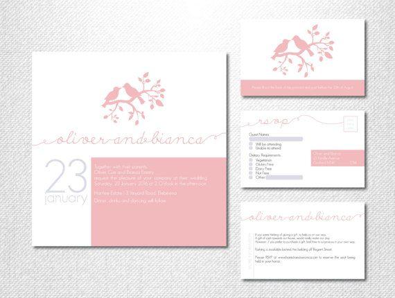 Love Bird Wedding Invitations ~ Love Birds ~ Blush Pink ~ Tree Branch ~ Modern Wedding ~ Pink Invitations ~ Tree Wedding Invitation