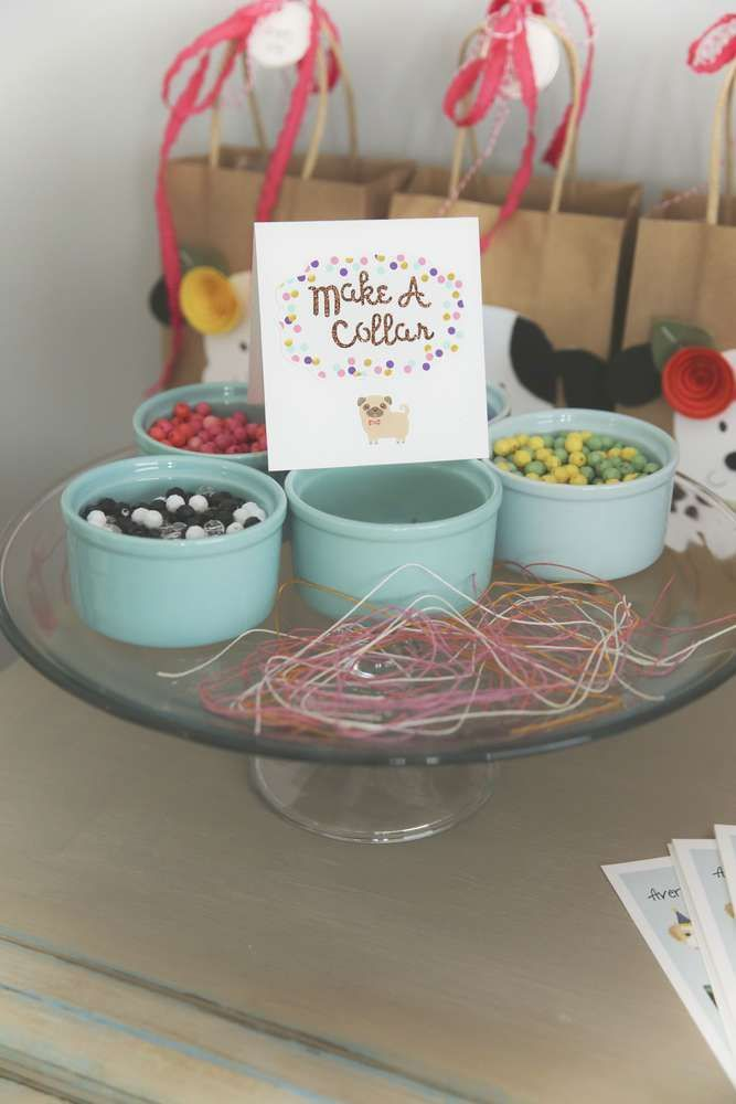 Make a collar at a puppy birthday party! See more party planning ideas at CatchMyParty.com!