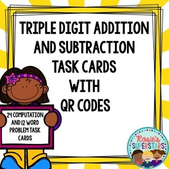 Triple digit addition and subtraction practice made easy! Use these 36 task cards to have students practice three digit addition and subtraction with regrouping. These task cards include QR codes so students can receive immediate feedback. Computation and word problem task cards are included.