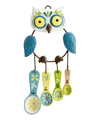 Look what I found on #zulily! Floral Owl Measuring Spoon Set #zulilyfinds...need this for Kylie's Kitchen!!