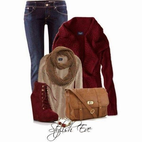 Farb-und Stilberatung mit www.farben-reich.com - Red jacket, jeans pants, brown scarf, high heel red shoes and brown handbag for fall