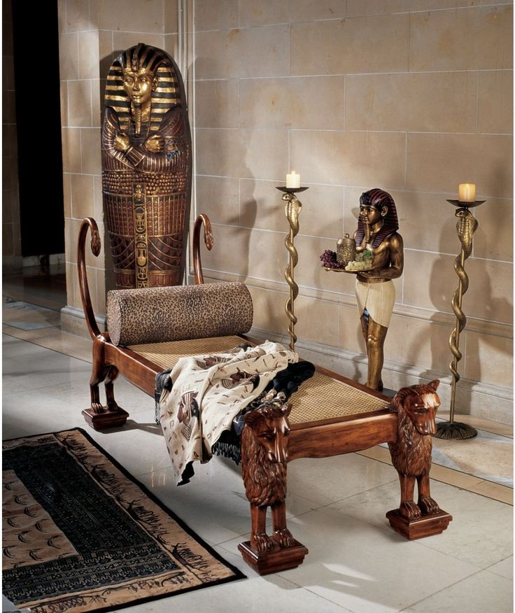 Ancient Egyptian Handcarved Royal King Tut Chaise Lounge