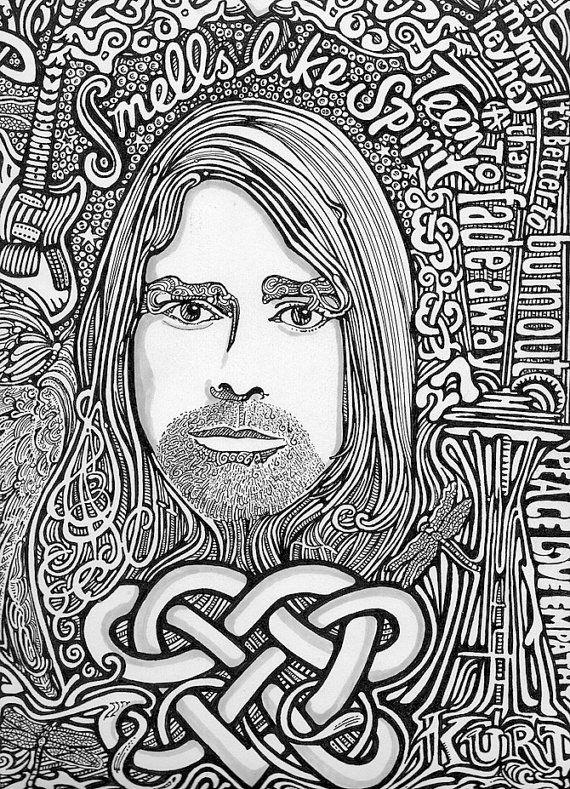 Kurt Cobain Free Coloring Pages