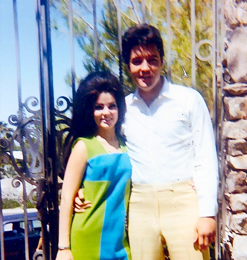 Honeymooners, Priscilla and Elvis at their Ladera Circle home in Palm Springs, CA.