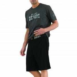#Pyjama #homme Athena en coton : Tee-shirt col rond gris foncé chiné floqué et bermuda noir