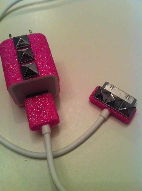 iPhone Charger (customized glitter charger with studs) via Etsy