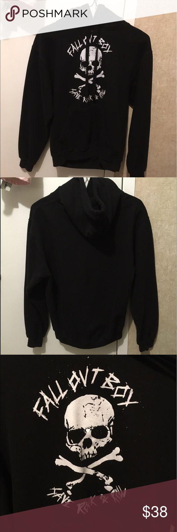 Fall Out Boy Save Rock & Roll hoodie Purchased at the Save Rock & Roll Tour. Worn twice. No rips or stains. It's very soft and warm on the inside. Hoodie with from slip pocket. Tags fell off but it's a size small. Price FirmNo TradesWill Not Model Fall Out Boy Sweaters