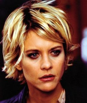 Meg Ryan with short blonde hairstyle with layers and side bangs.JPG