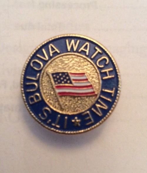 "Bulova Watch Its Time Flag 3/4"" Lapel Pin Lot Of 3 Round Gold Vtg Clutch Back #Bulova"