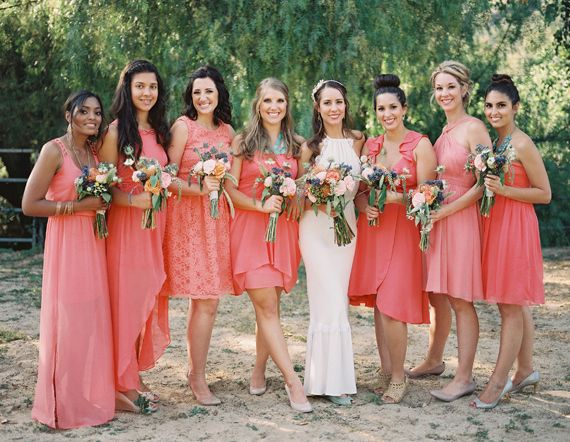 coral bridesmaid dresses | photo by Michael Radford | http://www.100layercake.com/blog/2013/08/01/southern-california-estate-wedding-adriana-blake/