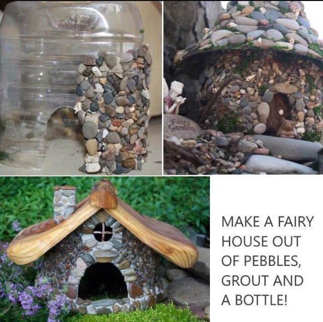 make fairy house out of bottle pebbles and grout crafts pinterest fairies grout and bottle. Black Bedroom Furniture Sets. Home Design Ideas
