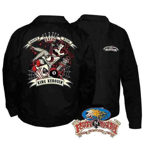 """""""Feel the art and history of Man's Ruin Embroidered Work Jacket by King Kerosin #rockabillyautumn #RuffnReadyAus #AutumnFashion #KingKerosin #MansRuinEmbroideredWorkJacket #jacket #fashionstatement"""""""