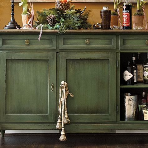 Love the green furniture. Parisienne Tassel I ballarddesigns.com - Best 25+ Green Distressed Furniture Ideas On Pinterest Vintage