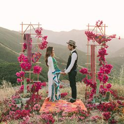 Love this gorgeous Latin American inspired wedding with lovely bougainvillea branches!