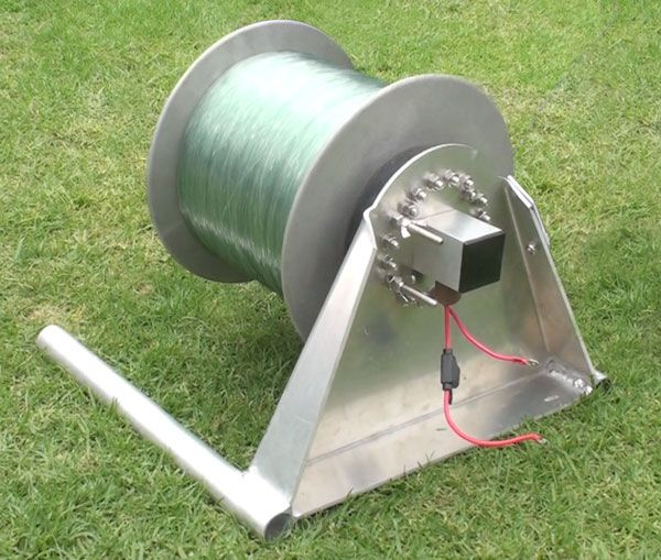 Powerful Kontiki and Kite Fishing Winch With 12 Volt 230 Watt DC Gear motor Inside Spool
