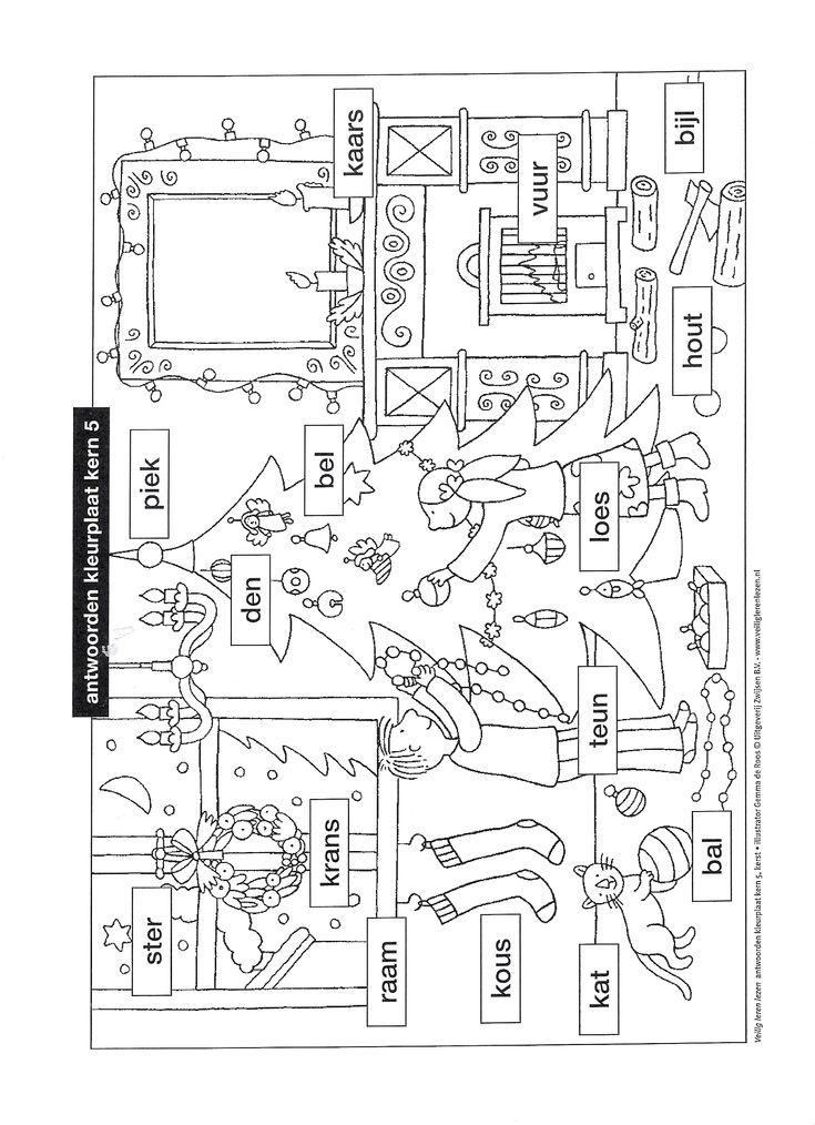werkblad taak groep 3 VLL kleurplaat kern 5 Kerst
